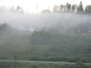 FOGGY CLOUDS STEAMBOAT WITH HOUSES
